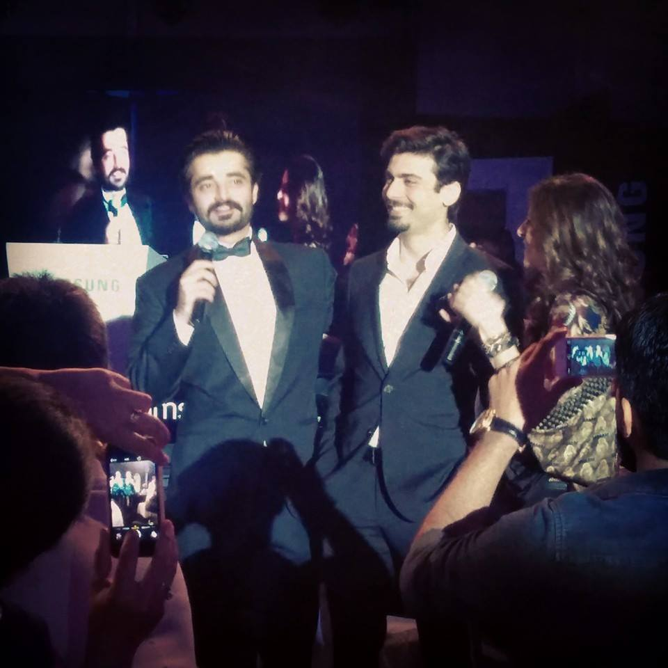Fawad Khan and Hamza Ali Abbasi at Samsung Note 4 Launch. Picture Credits: Umar Farooq