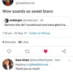 Ali Azmat tweet - Sana Gilani - Na Re Na Cover